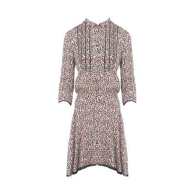 floral pattern pin-tuck detail dress